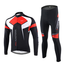 Lixada Spring Autumn Cycling Clothing Set Men Quick-dry Sportswear Suit Breathable Bicycle Long Sleeve Jersey + Pants