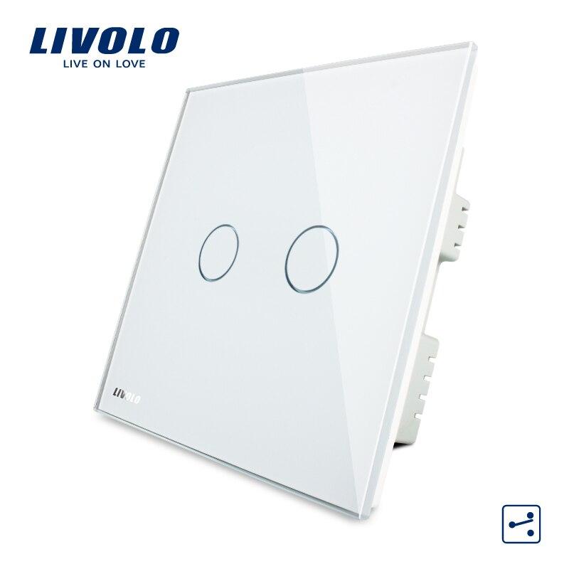 Livolo Crystal Glass Panel, Wall Switch, AC 220-250V VL-C302S-61/62/63,2 Gangs 2 Ways, Touch Screen Home Light UK Switch цена