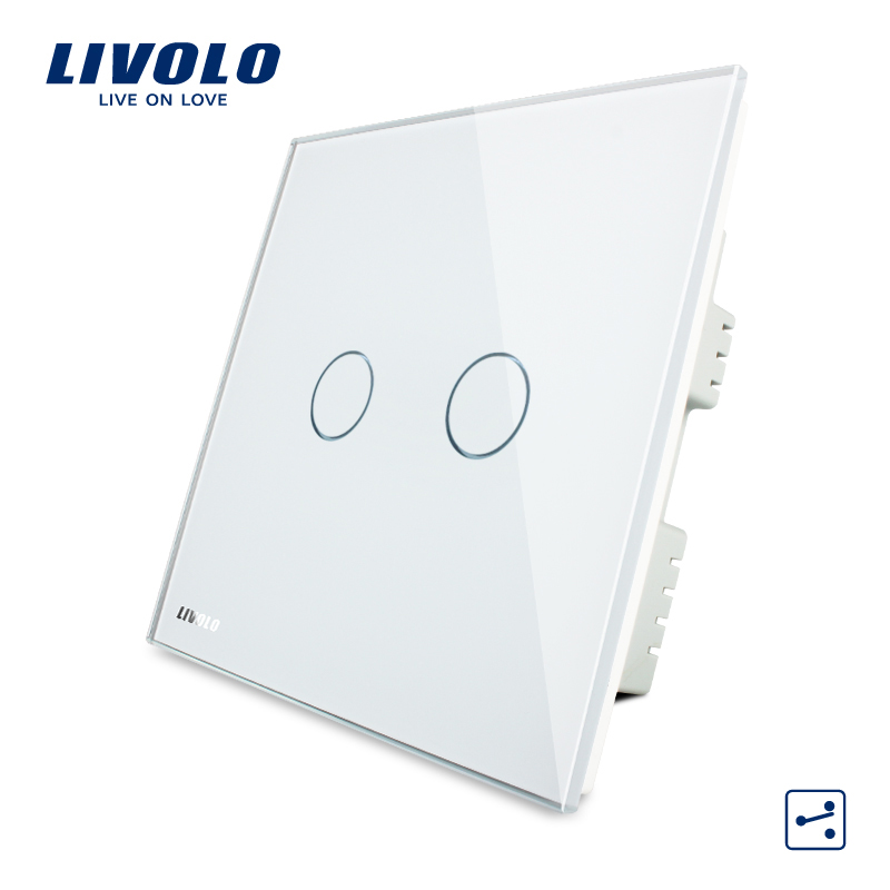 Livolo  White Crystal Glass Panel, Wall Switch, AC 220-250V VL-C302S-61,2 Gangs 2 Ways, Touch Screen Home Light UK Switch 2017 free shipping smart wall switch crystal glass panel switch us 2 gang remote control touch switch wall light switch for led