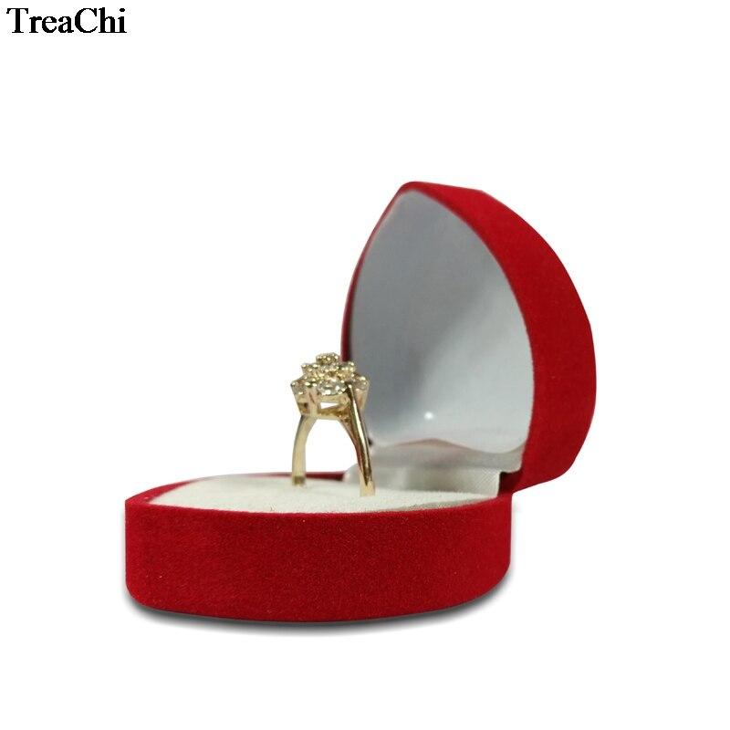 Big Sale 24Pcs Red Heart Shaped Velvet Birthday engagement Ring Box Romantic Valentine's Day Ring Gift Box Cheap Velvet Ring Box