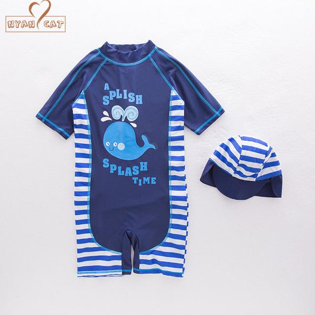 New Arrival Summer baby boy swimwear+hat 2pcs set cartoon whale Stripe swimming suit infant toddler kids children beach bathing