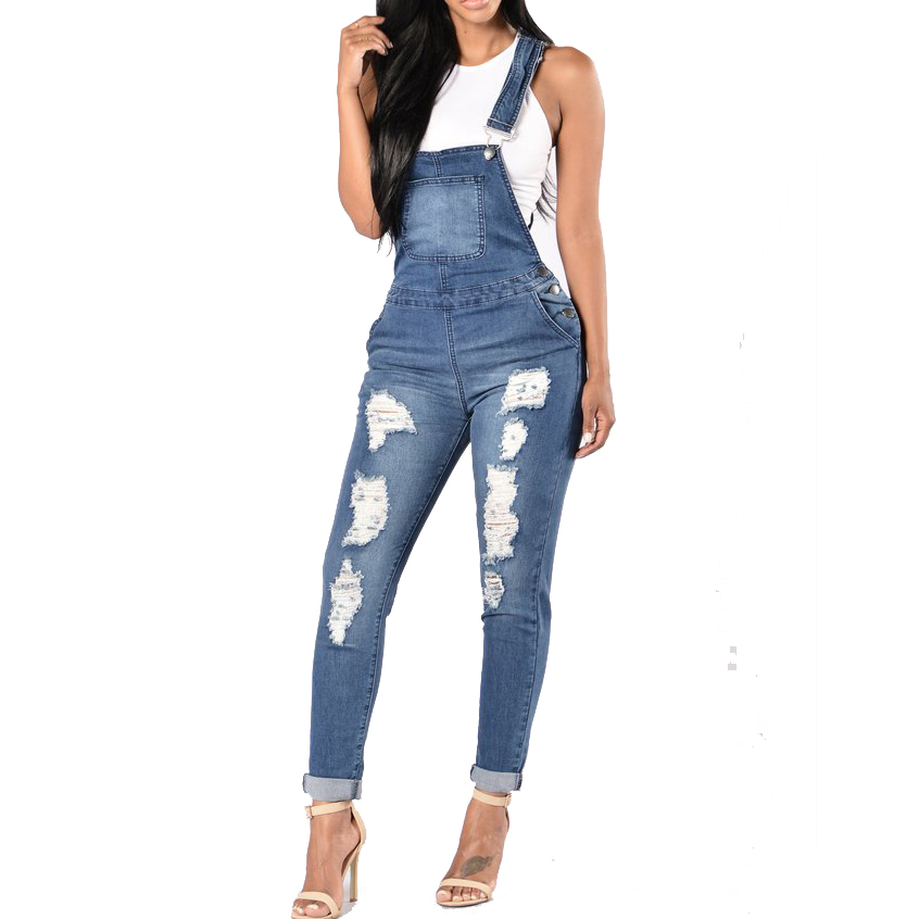 Suspender jeans Hole Slim Pencil Denim Overalls Jeans Femme Ripped Jeans For Women pants jeans womens 2017 spring korean fashion vintage badge ripped blue denim pants trousers long pencil pants jeans femme b67