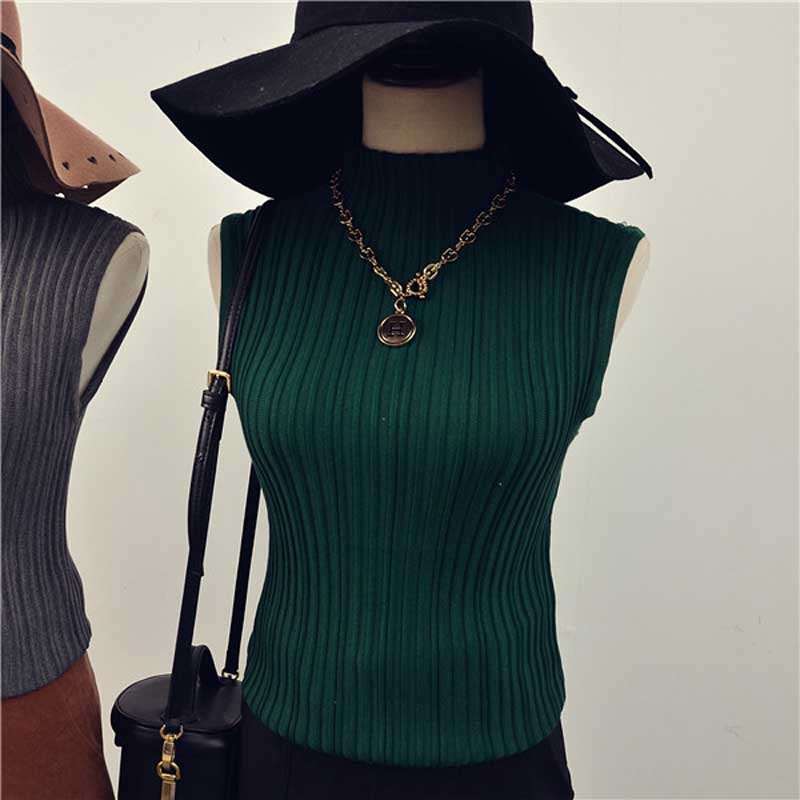 Hotsale Fashion Turtleneck Sleeveless Sweaters Women Skinny ...