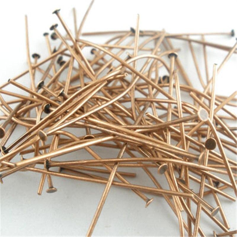 DoreenBeads 500 PCs Copper Tone Head Pins Findings 30x0.7mm(21 Gauge) (B03598), Yiwu