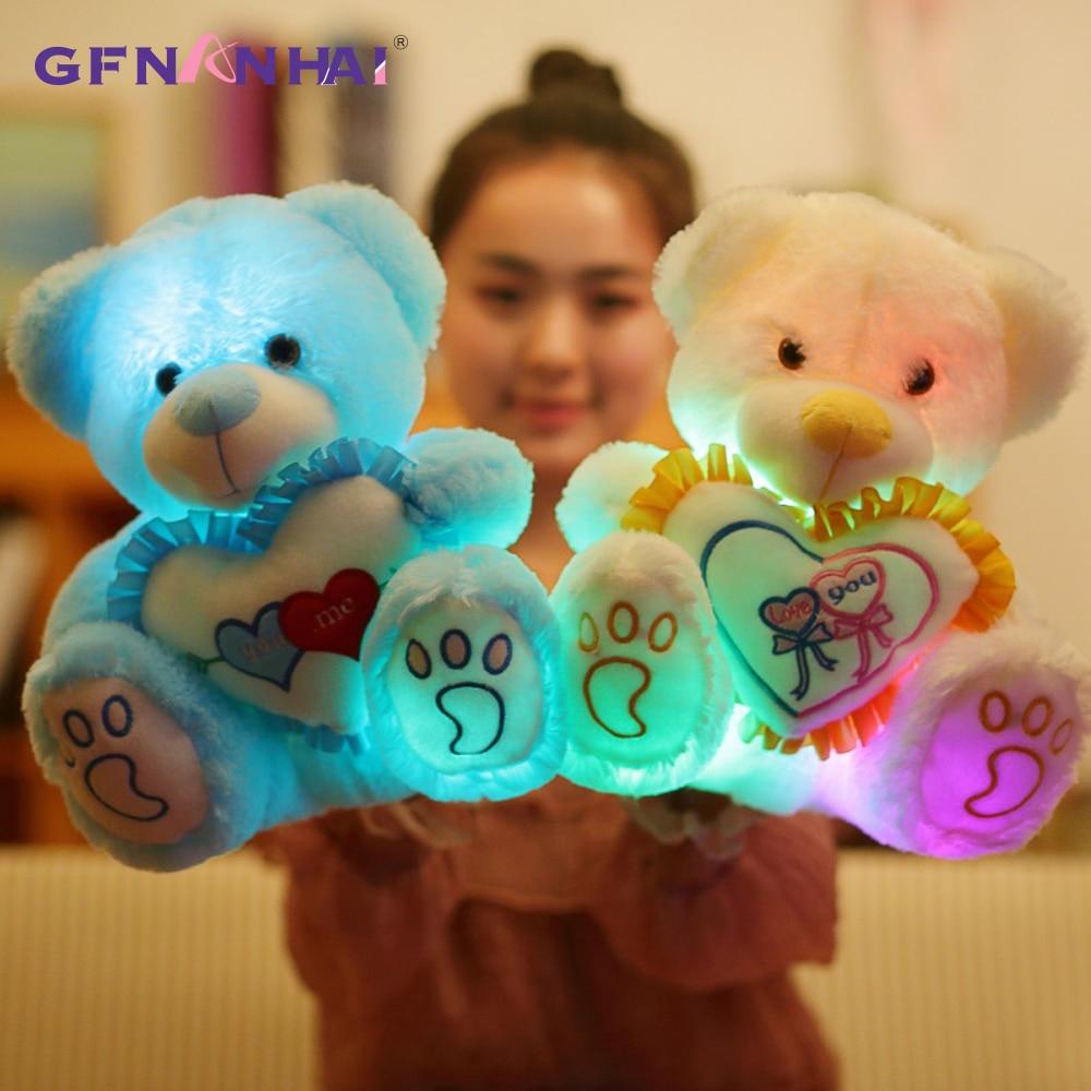Dolls & Stuffed Toys Stuffed & Plush Animals Hot Sale 1pc 25/30cm Cute Light Up Led Heart Teddy Bear Plush Toy Stuffed Soft Kawaii Luminous Glowing Teddy Bears With Buttons Dolls