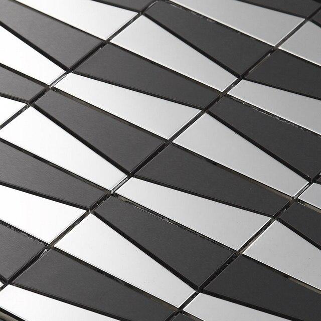 Silver Backsplash Tiles Part - 33: Silver Mixed Black Irregular Metal Mosaic Stainless Steel Mosaic Tiles For  Dining Room Wall Tile Kitchen