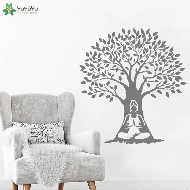 YOYOYU Wall Decal Meditation Woman Tree Vinyl Wall Sticker Modern Yoga Studio Logo Decoration Art Mural Gift Indian Decor CT721 in Wall Stickers from Home Garden