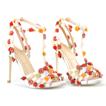 Pink Palms women summer sandals floral high heel shoes custom handmade sweet flowers sandals