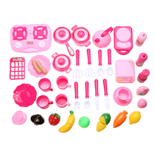 40pcs/set Pink Kitchen Food Cooking Role Play Pretend Toy Girls Baby Child Cooking Toy Set