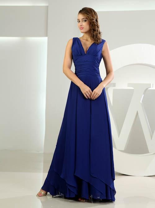 Babyonlinedress Double V Neck Ribbon Bow Tie   Bridesmaid     Dresses   Long Blue Chiffon Sleeveless Wedding Party   Dresses