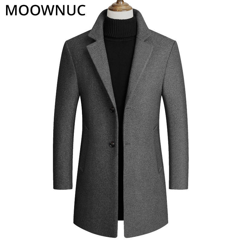 Fashion Woollen Male Business Thick Casual Autumn Winter Overcoat Warm Wool Men Coat Blends Brand Clothing Men's Coat MOOWNUC