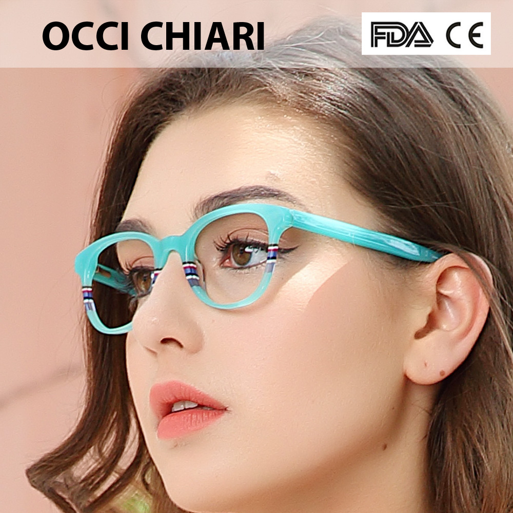 Image 2 - Recommend Good Quality Italy Design Acetate Navy Stripes Spring Hinge Eyeglasses Women Eyewear Clear Glasses Frame W CORRO-in Women's Eyewear Frames from Apparel Accessories