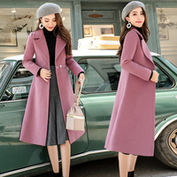 2019 autumn and winter new women's temperament woolen coat female long section of the popular pop coat