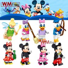 Cartoon Donald Duck Dasiy Tinker Bell Minnie Mouse friends Princess Fairy Baby Dolls Tinkle Bell Building Blocks Kids Toys(China)