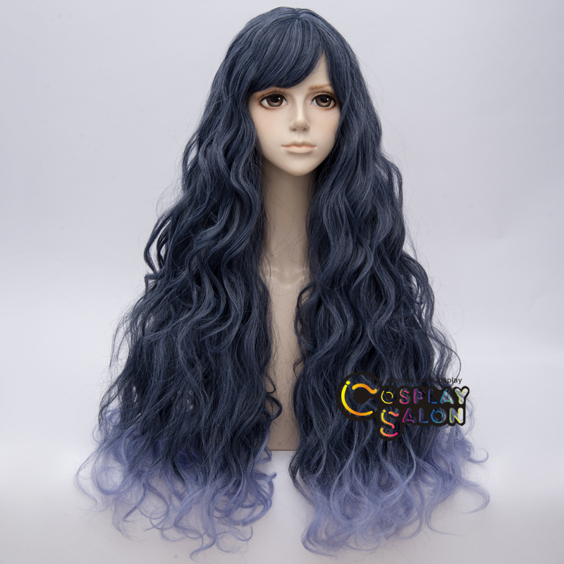80cm Lolita Bluish Gray Mixed Light Blue Long Curly Women