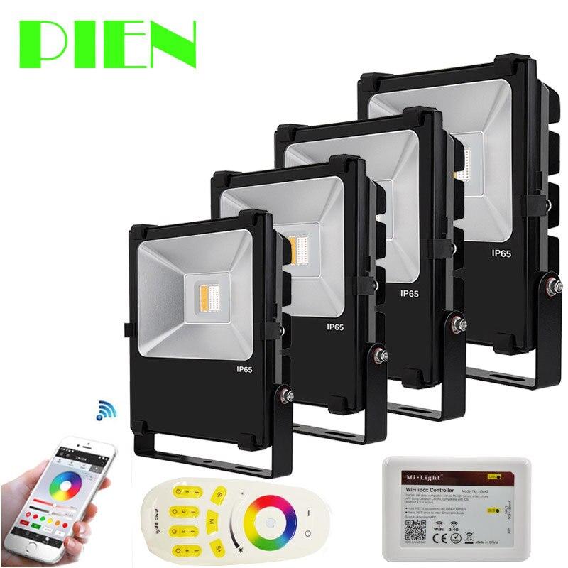 Floodlights RGB RGBW LED Spotlight Outdoor 2.4G Wifi leds exterior 10W 30W 50W Waterproof + RF Remote + Wifi control by DHL 4pcs