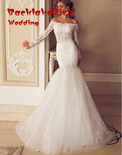 custom made fashion mermaid wedding dress 2017 boat neck long sleeve appliques lace beaded bridal marry gowns vestidos noiva