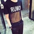 Homens Kroean estilo cantora de boate solto casual T-shirt letras imprimir top camisa de malha transparente