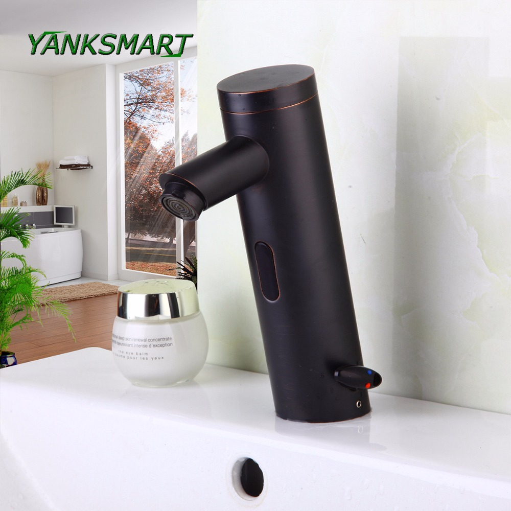 YANKSMARTOil Rubbed Bronze Automatic Sensor Hand Free Bathroom Basin Sink Faucet black Hot And Cold Mixer