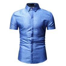 Mens dress Shirts Short sleeve Solid color New model for Men Summer Blouse Slim fit Blue Black 2019 Hot