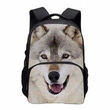Модные мальчики рюкзак для школы 3D животных Хаски Печать Рюкзак Большой мужчин ноутбук Bagpack детей Школьные ранцы Mochila