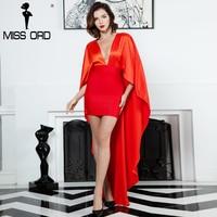 Missord 2017 Sexy Deep V Irregular Sleeve Fold Side Dress FT8150