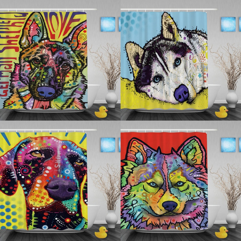 Pet Dog Husky Funny Shower Curtains Cute Animals Unique Decoration Bathroom Curtains Waterproof Shower Curtain Polyester Fabric