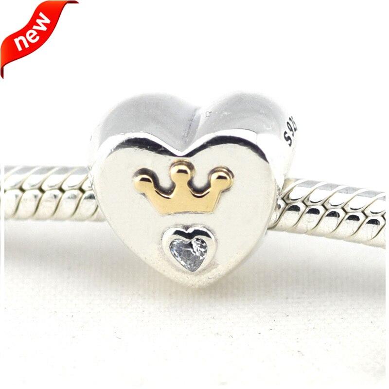 dcfdad6e6 Majestoso CKK 925 Sterling Silver Jewelry 14 K Ouro Coração Encantos DIY  Beads Serve Pulseiras Para Fazer Jóias
