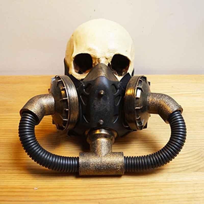 Or/noir Pipeline militaire visage complet respirateur masque à gaz accessoires Costume Steampunk gothique Cosplay masques Anime Halloween