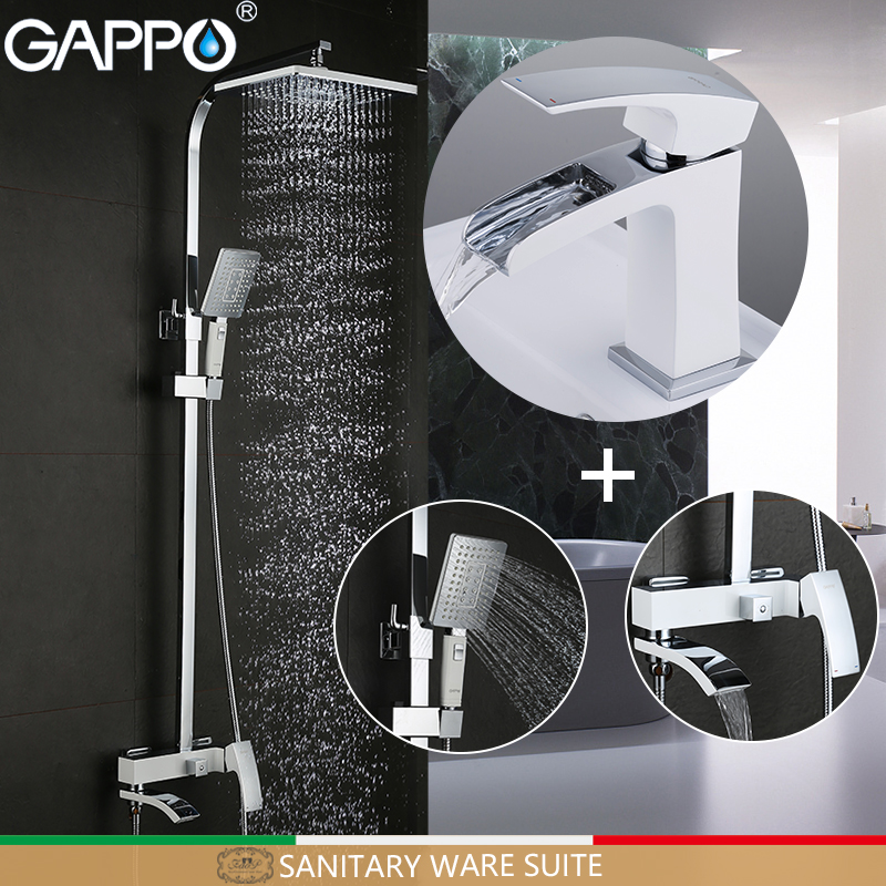 Permalink to GAPPO Sanitary ware suite chrome and white bath faucet mixers shower set with basin faucet brass bathroom shower set torneira