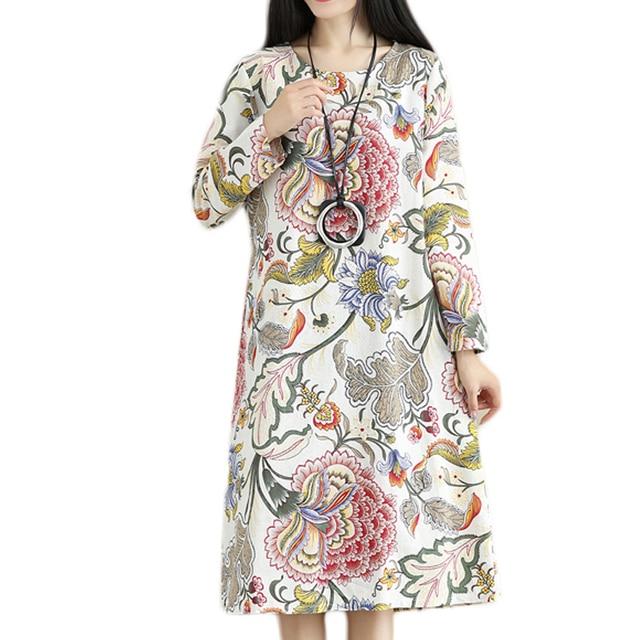 2021 Fashion Thicken Fleece Warn Winter Dress Print Floral Cotton Linen Vintage Spring Dress Women Casual Midi Dress Plus Size 3