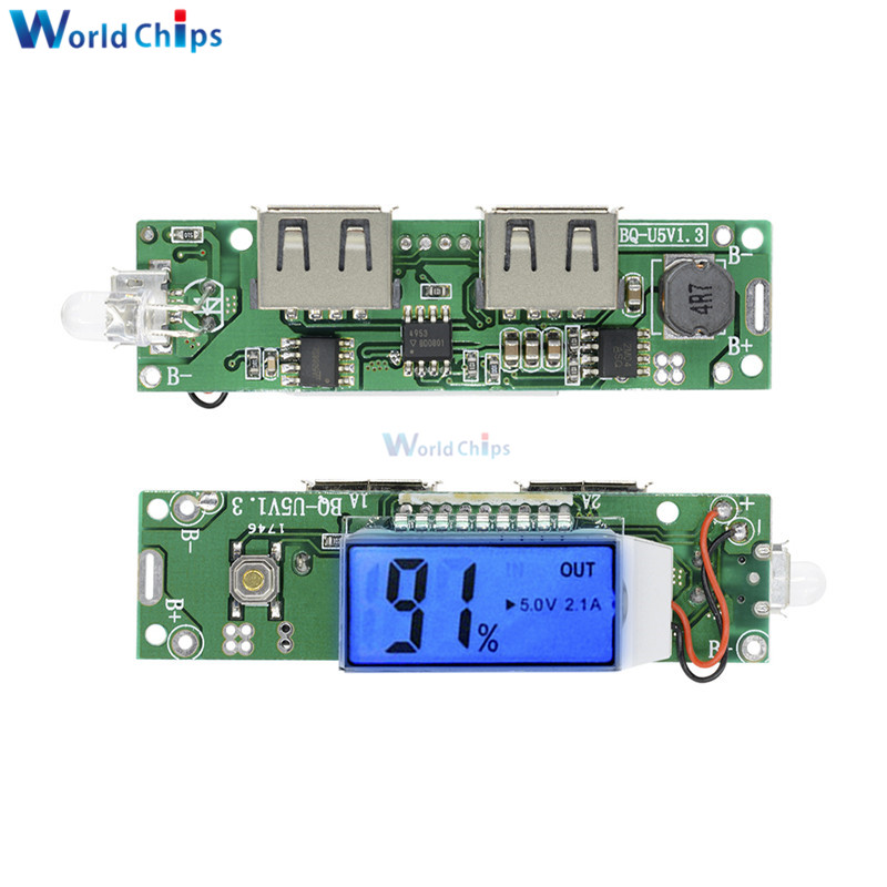 Double Dual USB Mobile Power Bank Charger Module Digital LCD Display 18650 Lithium Battery Charging Board For Phone 5V 1A 2A