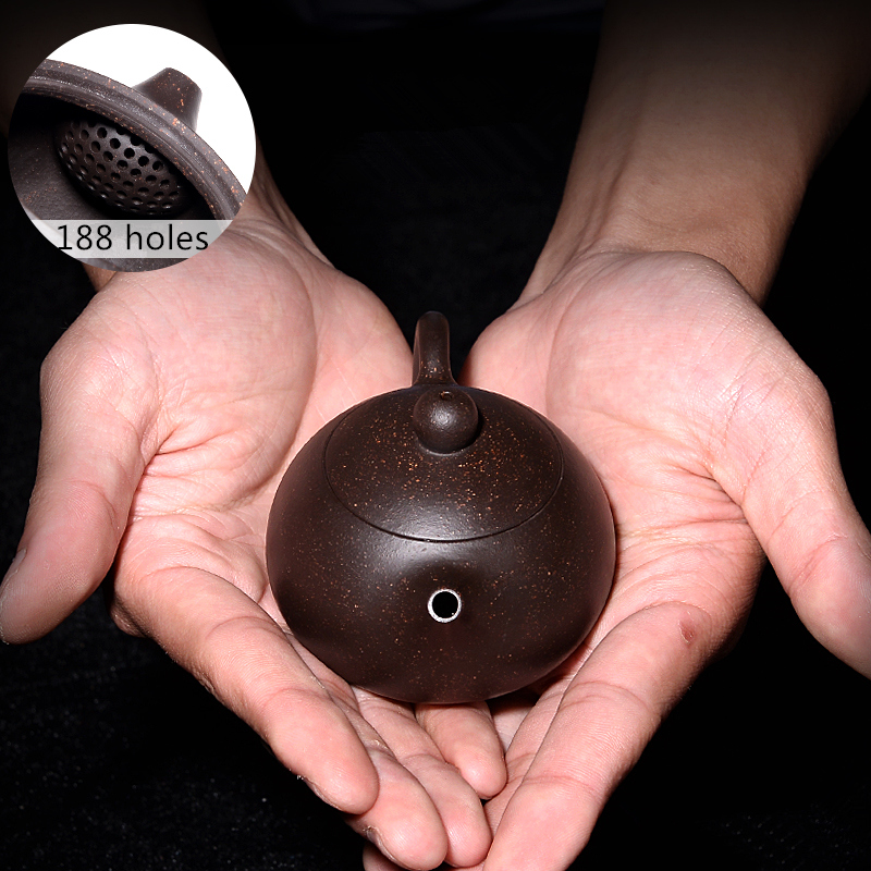 full handmade tea pot very small Chinese kungfu pot marked 188 infuser holes ball shaped real