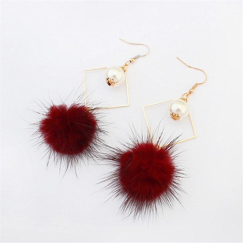 2018 Women New fashion cute imitation pearl earrings Bohemia long Fur ball earrings for girls gift jewelery