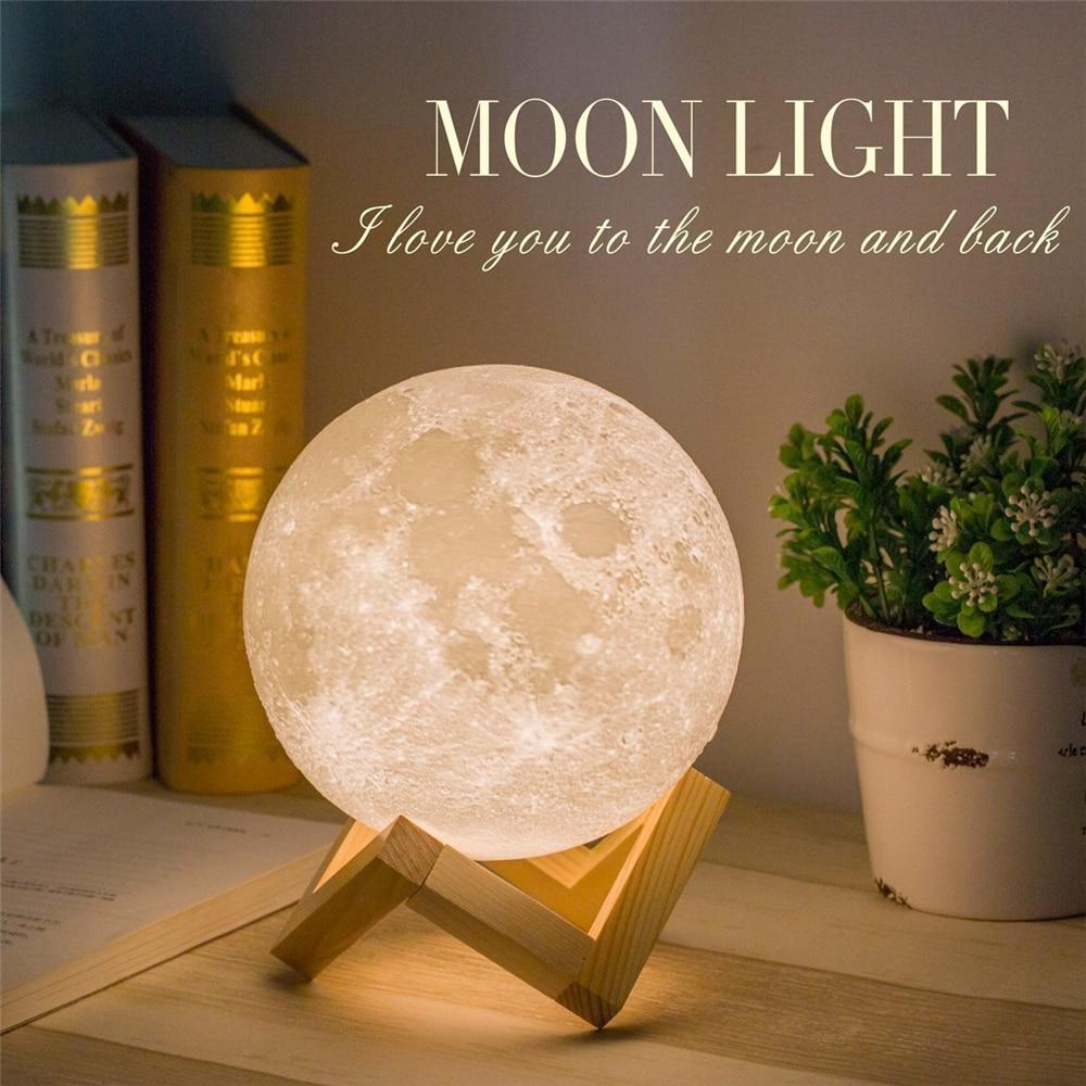 3D Print Mond Led-nachtlicht 2 Farbwechsel Wiederaufladbare Moonlight Tischlampe Schlafzimmer Studie Home Decoration Innenbeleuchtung Geschenk
