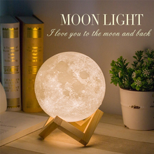 3D Print Moon LED Night Light 2Color Change Rechargeable Moonlight Table Lamp Bedroom Study Home Decoration Indoor Lighting Gift