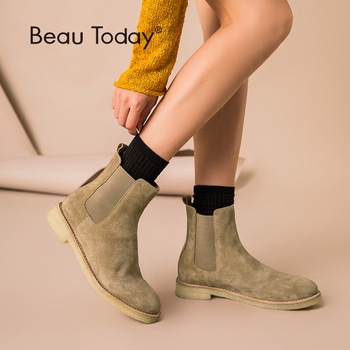 BeauToday Chelsea Boot Women Cow Suede Leather Round Toe Autumn Winter Short Plush Fashion Lady Ankle Boots Handmade 03081 smile circle suede cow leather chelsea boots women ankle boot fashion rivets round toe lady shoes women high heel boots