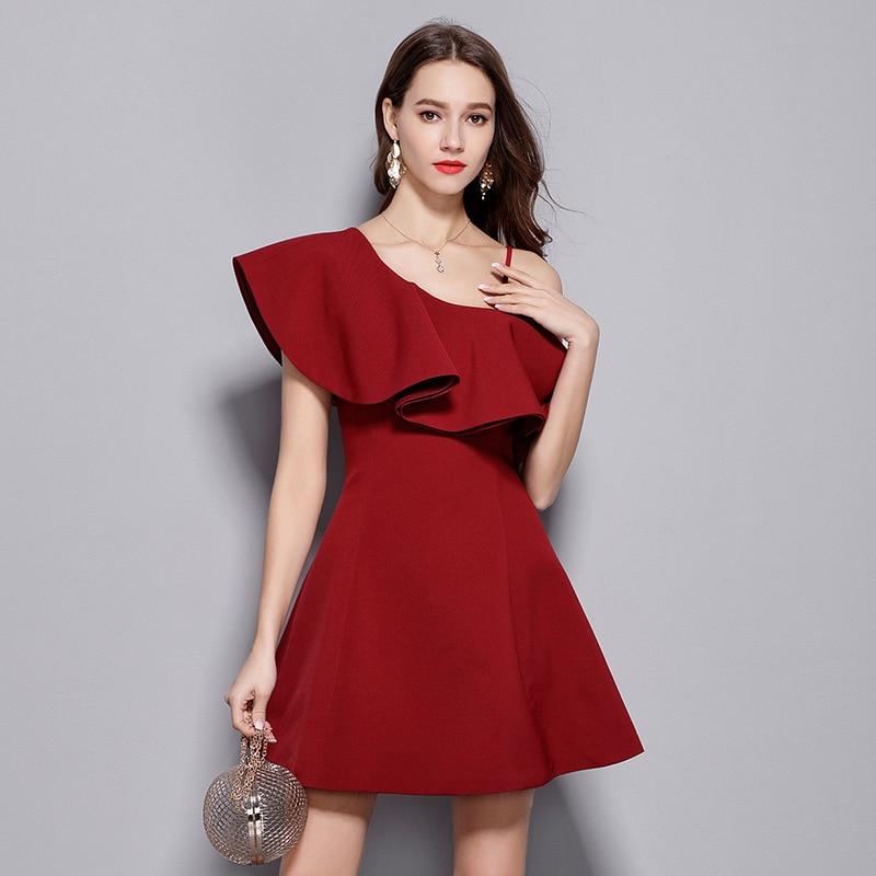 Femmes Élégant Vin Rouge Robe De Soirée Une Épaule Avec Falbala Sexy Solide Club Mini Robe Moulante Kawaii Formelle Robe Courte