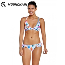 Women Fashion Split Swimsuit Delicate Printed Suit Lacy Padded Bikini and Sexy Briefs stylish white crochet bra and feather printed briefs bikini suit for women
