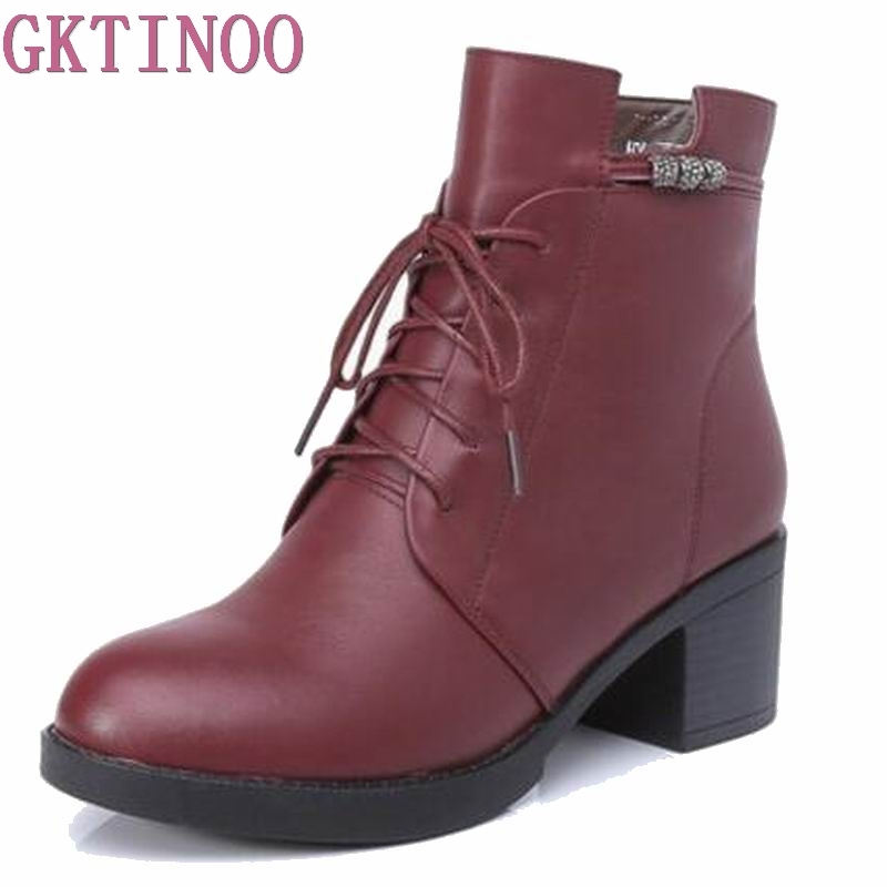 2018 Autumn Winter Women shoes Warm Fur Addible Ankle Boots Martin Boots high heels lace up genuine leather booties daidifen 2017 autumn winter women ankle boots high heels lace up leather double buckle platform short booties new plus size 48