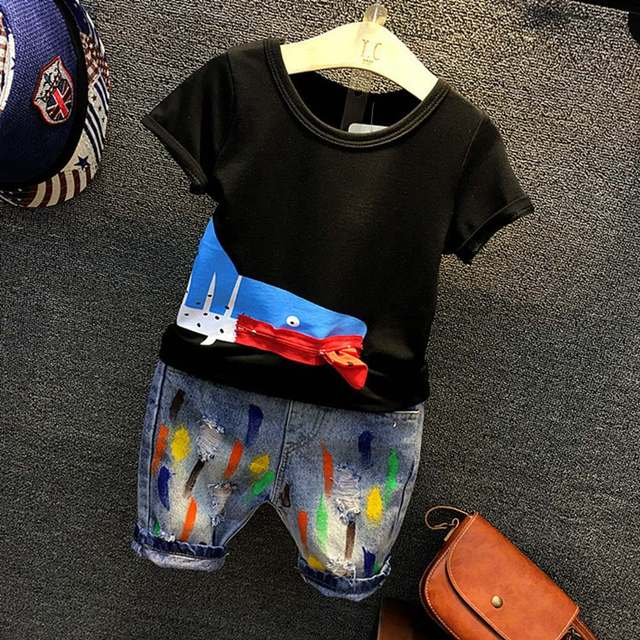 8e67b8094d Kolor Patchwork Chłopców Ubrania Na Lato 2018 Nowe Fajne Chłopiec Dzieci  Ubrania Zestaw Dzieci Tee Shirt