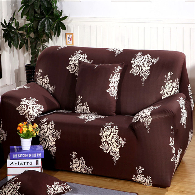 SunnyRain Brown Polyester Elastic Sofa Cover Printed Floral Sofa Cover For Sectional  Sofa Couch Cover Machine