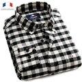 Langmeng 20165 camisa de flanela dos homens casual camisa de manga comprida camisas de vestido camisa masculina xadrez puro algodão primavera outono masculino