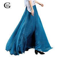 Fashion Long Skirts New Bohemian 2016 Women Linen High Waist Pleated Skirts Ladies Candy Color Slim