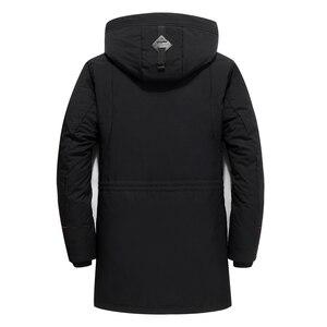 Image 3 - מותג גברים בגדי החורף חדש למטה מעיל האופנה Slim ברדס עבה חם לבן ברווז למטה ארוך מעיל Parka זכר 5XL 6XL