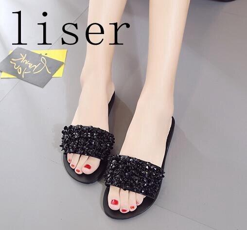 Liser Shiny Strass Hausschuhe Sandalen Frauen Schuhe Sommer Rutschen - Damenschuhe - Foto 4