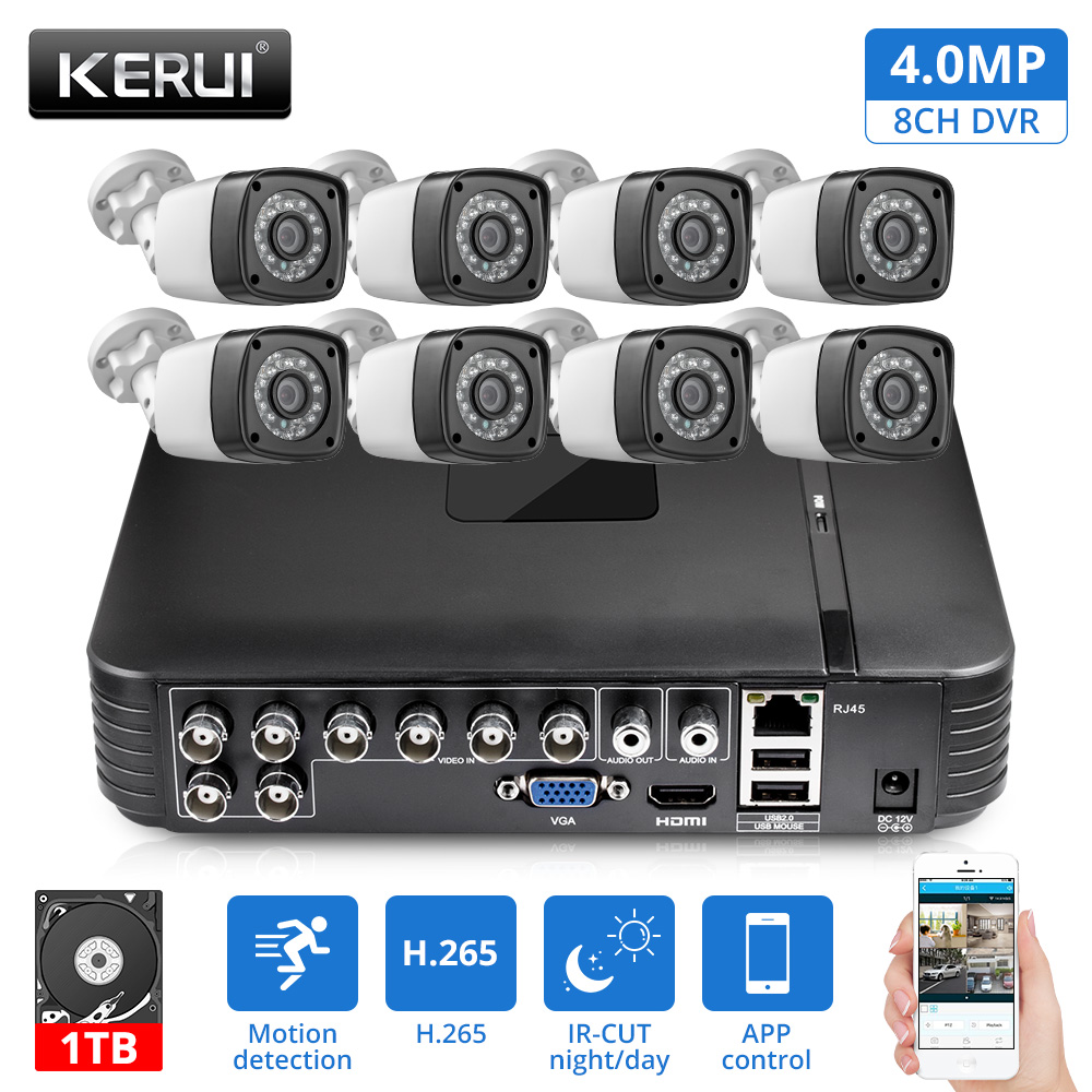 KERUI AHD Home Security Camera System 8CH DVR Kits Audio Record With 8pcs 4MP Camera HDMI