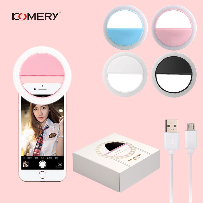 Universal Selfie LED Ring Light Portable Phone Flash Rechargeable Selfie LED Flash Ring Clip For iPhone 6S Plus 8 Plus X Samsung