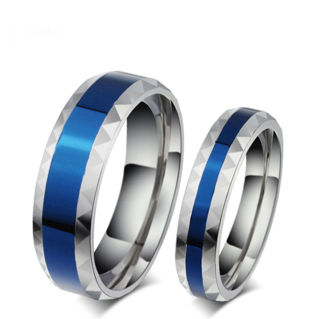 316L Stainless Steel Finger Rings men wedding band jewelry blue 4mm Woman's tita