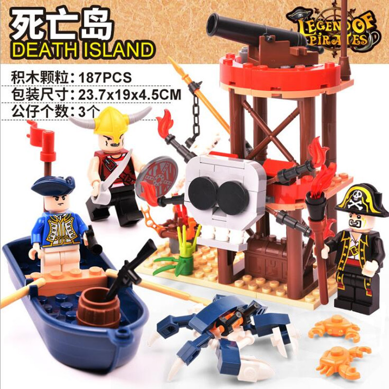 GUDI 9109 Pirates of the Caribbean Series Medieval Empires Skull Island Uninhabited Island Building Block Toys 187pcs Bricks
